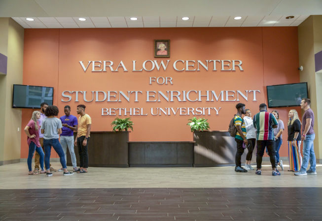 students gathered in the lobby of Vera Low Center