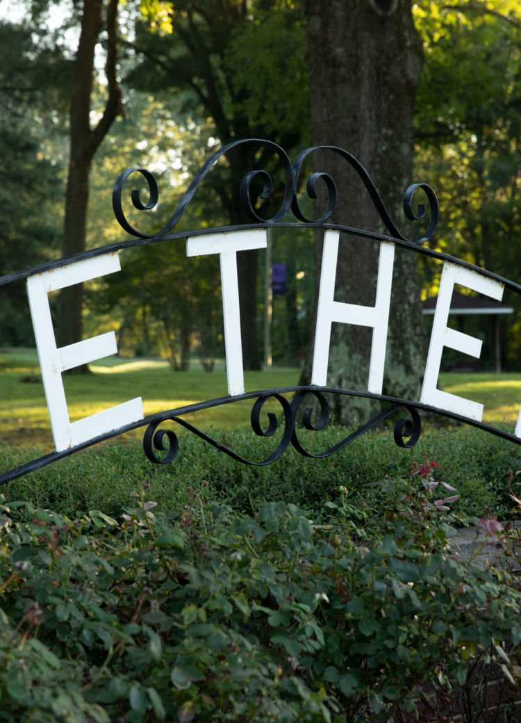 a metal Bethel sign on campus