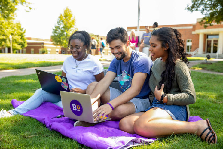 students studying together on the quad lawn